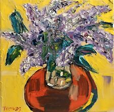 PATRICIA NOLAN-BROWN Oil Painting Lilac Flowers Floral Impressionism Abstract
