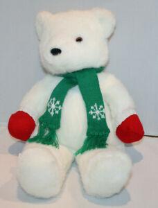 "17"" Hallmark Cards Christmas holiday polar bear w/ red mittens green scarf"