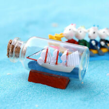Figurines Miniatures Mini Sailing Boat Drift Bottle Charm Small Cork Glass Decor