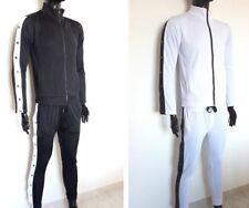 Tuta uomo con zip maglia e pantaloni casual acetato sport fitnees S M L XL nero