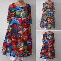 ZANZEA Women's 3/4 Sleeve Shirt Dress Round Neck Floral Print Knee Length Dress