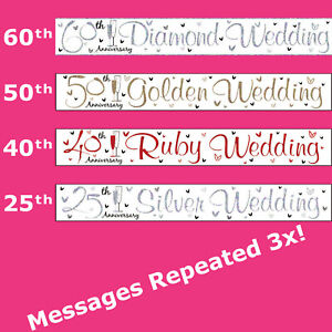 Wedding Anniversary 60th 50th 40th 25th Banner Foil Party Decorations Gold Ruby
