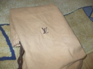 Auth Louis Vuitton tan cotton draw string large dust bag for handbags tote
