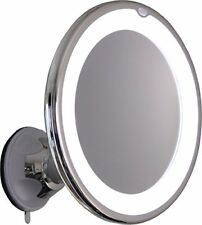 10X Magnifying Lighted Makeup Mirror With Chrome Finish, Locking Suction Mount