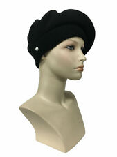 Laulhere French Wool Soft Beret Hat La Parisienne Black Made in France