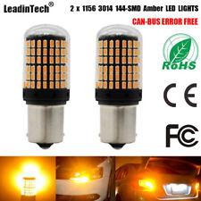 2X 1156 LED Bulb Canbus Error Free YELLOW AMBER Turn Signal Light No Hyper Flash