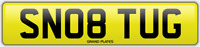 TUGG SNOB NUMBER PLATE SN08 TUG CHERISHED CAR REG TUGGER TUGGED NO ADDED FEES