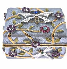 Mini Dragonfly Jewelry Trinket Box 309PP Crystal Enamel Bejeweled Hinge Lavender