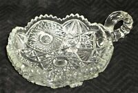 Clear Cut Glass Candy Nut Dish with Finger Handle - Scalloped Edge Vintage
