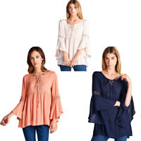 JODIFL Womens Embroidery Peasant  Bohemian Long Bell Sleeve Top Blouse S M L