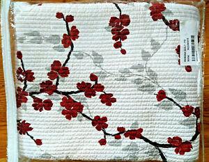 Queen Cotton Quilt Set: White w/ Red Cherry Blossom by Nostalgia'Ikebana'New NIP