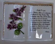Vintage Lefton Violets Lord's Prayer Book Planter Wall Pocket