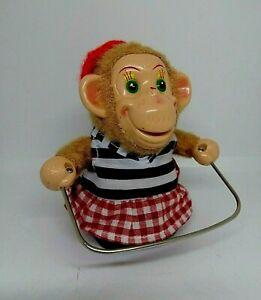 Vintage Battery Operated Jumping Rope Girl Monkey Toy