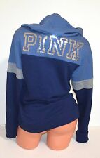 Victoria's Secret PINK Bling Logo Crossover Pullover Hoodie Sweatshirt M Blue