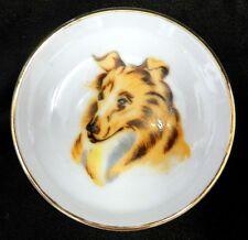 Vintage Lassie Collie Dog Round Tidbit Gold Trim Ashtray Shallow Miniature Dish