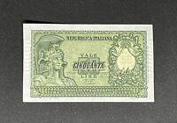 50 Lire ITALIA ELMATA BOLAFFI 31/12/1951 FDS - rare Italy Banknote UNC