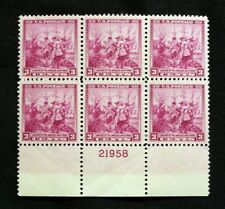 US Plate Blocks Stamps #836 ~ 1938 LANDING OF SWEDES & FINNS 3c Plate Block MNH