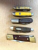 A Lot of Five Vintage Pocket Knives - Camillus, Boker, Kabar, Imperial