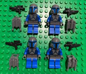 Lego Star Wars LOT 4 MANDALORIAN Death Watch Minifigures blue w/blasters