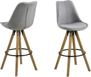 2 Bar Stools with Wooden Legs, 55 x 48.5 x 111.5 cm (L x W x H), Light grey