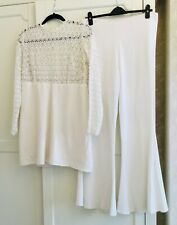 MARK MELIA DESIGN CREAM COORD OUTFIT FLARES LACE TUNIC STUNNING UK 12 £390