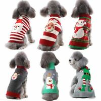 Xmas Striped Christmas Dog Sweater Pet Knit Clothes Dogs Snowman Hoodie Reindeer