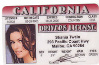 Shania Twain Country Music Star  -  ID card Drivers License