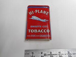 "HI-PLANE Smooth Cut Tobacco Tin Pocket flask, 4 3/8"" tall."