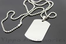 Silver Tone Necklace Pendant Stainless Steel Dog Tag Mens