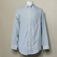 Brooks Brothers 346 L/Sleeve Dress Shirt Men's XL All Cotton Green/White Striped