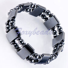 1pc Stretchy Natural Hematite Magnetic Healing Bracelet Arthritis Pain Relief