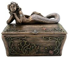Large Mermaid on Treasure Box Statue Nautical Sculpture *UNIQUE FATHERS DAY GIFT