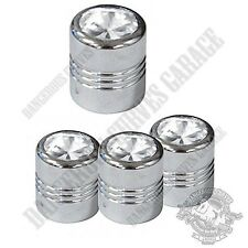 4 Chrome Billet Aluminum Swarovski® Clear Diamond Wheel Valve Stem Dust Caps