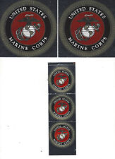 "USMC United States Marine Corps Vinyl Window Sticker decals 3 @ 1 & 1/2"" 2 @  4"""