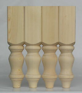 "Set of 4 Solid Pine CoffeeTable Legs, 88*88*425mm  Ex 4"" WOODEN (A4FHC)"