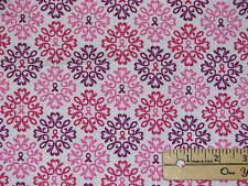 Pink Ribbons of Hope Pink/White Circle Breast Cancer Survivor Fabric by 1/2 Yard