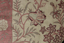 Antique French PRINTED LINEN fabric bed valance pelmet ~  textile ~ c1880 backed