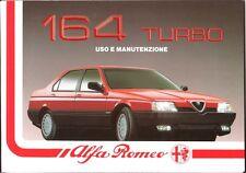 LIBRETTO USO E MANUTENZIONE ALFA ROMEO 164 TURBO - 10/1990 - 2ª EDIZ.