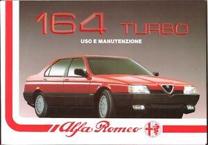 LIBRETTO USO E MANUTENZIONE ALFA ROMEO 164 TURBO - 10/1990 - 2ª EDIZ. Originale