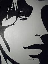 Negro Blanco Arte Pop Pintura al Óleo Abstracta Cara Grande Lienzo Contemporáneo Moderno
