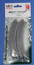 "Kato N Scale Unitrack Curved Track 7"" Radius 45 Degree (4 Pc) New 20-172"