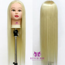 "26"" 100% Long Hair Hairdressing Practice Training Mannequin Doll Head With Clamp"