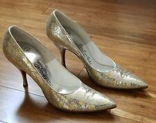 Palter Deliso Vintage 1960's Silver Metallic Gold Glitter Shoes 8 B De Liso Debs