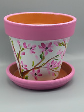 NEW Pink blossoms artist hand painted 6'' clay flower pot and saucer. Great gift