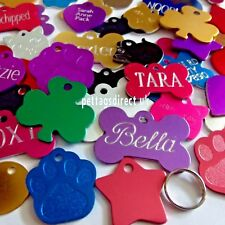 PET ID TAGS 10 for £18. dog & cat Name Discs 7 Colours RED Bulk Buy DEEP ENGRAVE