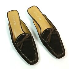 Unisa Womens Size 8 B Brown Suede Leather Slip On Mules Pebble Driving Soles