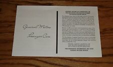 1977 Chevrolet GM Car Specifications & Suggested Retail Price Brochure 77 Chevy