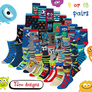 9 & 18 Pair Boys Novelty Cotton Rich Socks Kids Boys Socks 12-3 9-12 6-8 Bundle
