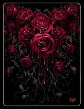 Fleece Blanket Gothic - Blood Rose - Spiral Cuddly Blanket Sofa Blanket