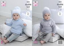 King Cole 5255 Knitting Pattern Baby Child Sweaters & Hats in Big Value Baby DK